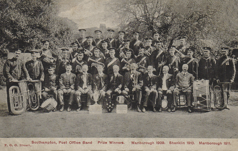Southampton Post Office Band Prize Winners. Marlborough 1909. Shanklin 1910. Marlborough 1911.