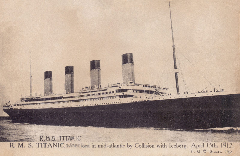 R.M.S. Titanic, wrecked in mid-atlantic by Collision with Iceberg. April 15th 1912