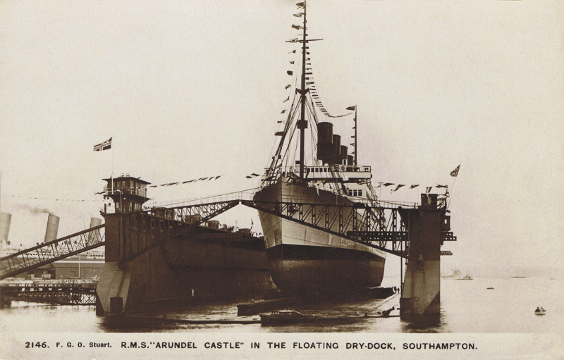 """2146  -  R.M.S. """"Arundel Castle"""" In The Floating Dry-Dock, Southampton"""